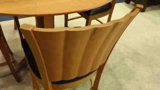 Amish Contemporary Rippleback Dining Chair & Amish Ripple Back Round Pedestal Extension Dining Table