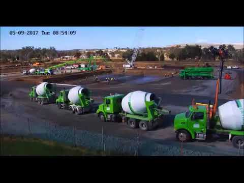 Time lapse video: Pouring 800 cubic metres of concrete for the new Recycle Water Treatment Plant