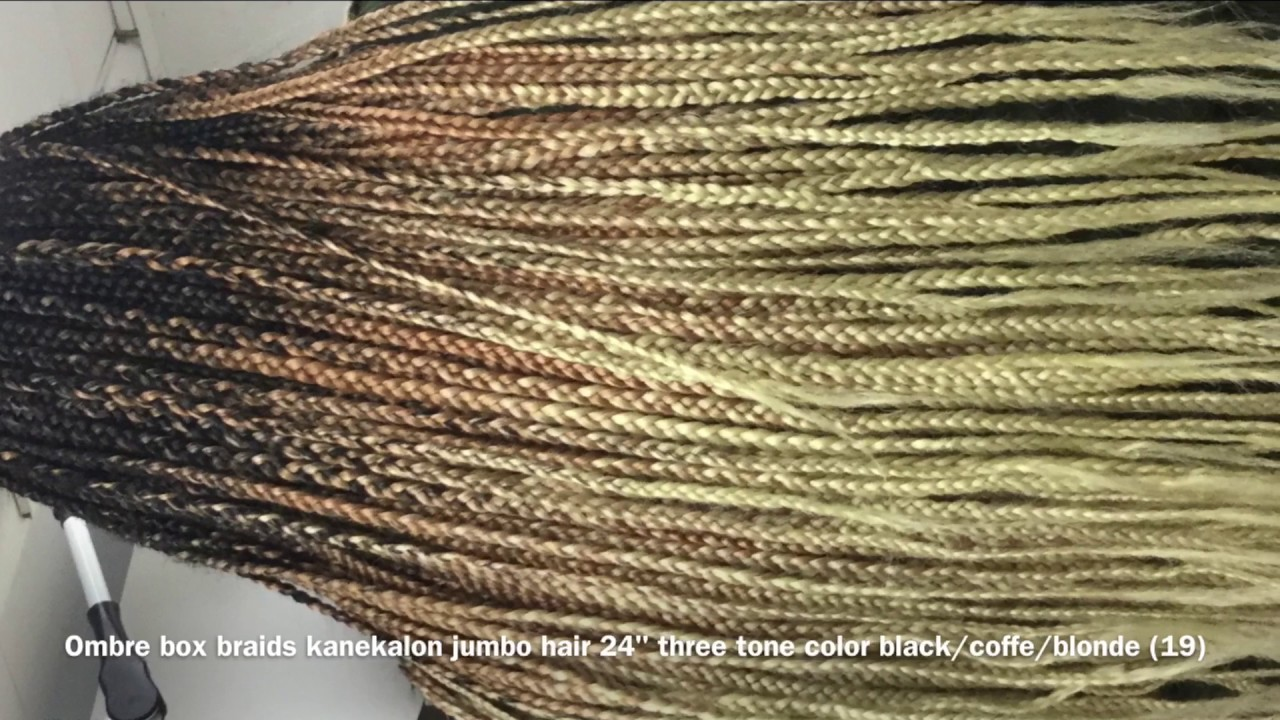 "Ombre box braids kanekalon jumbo hair 24"" three tone color ..."