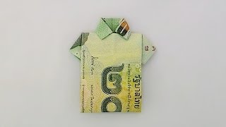Repeat youtube video Origami THB bill shirt / พับเสื้อจากธนบัตร