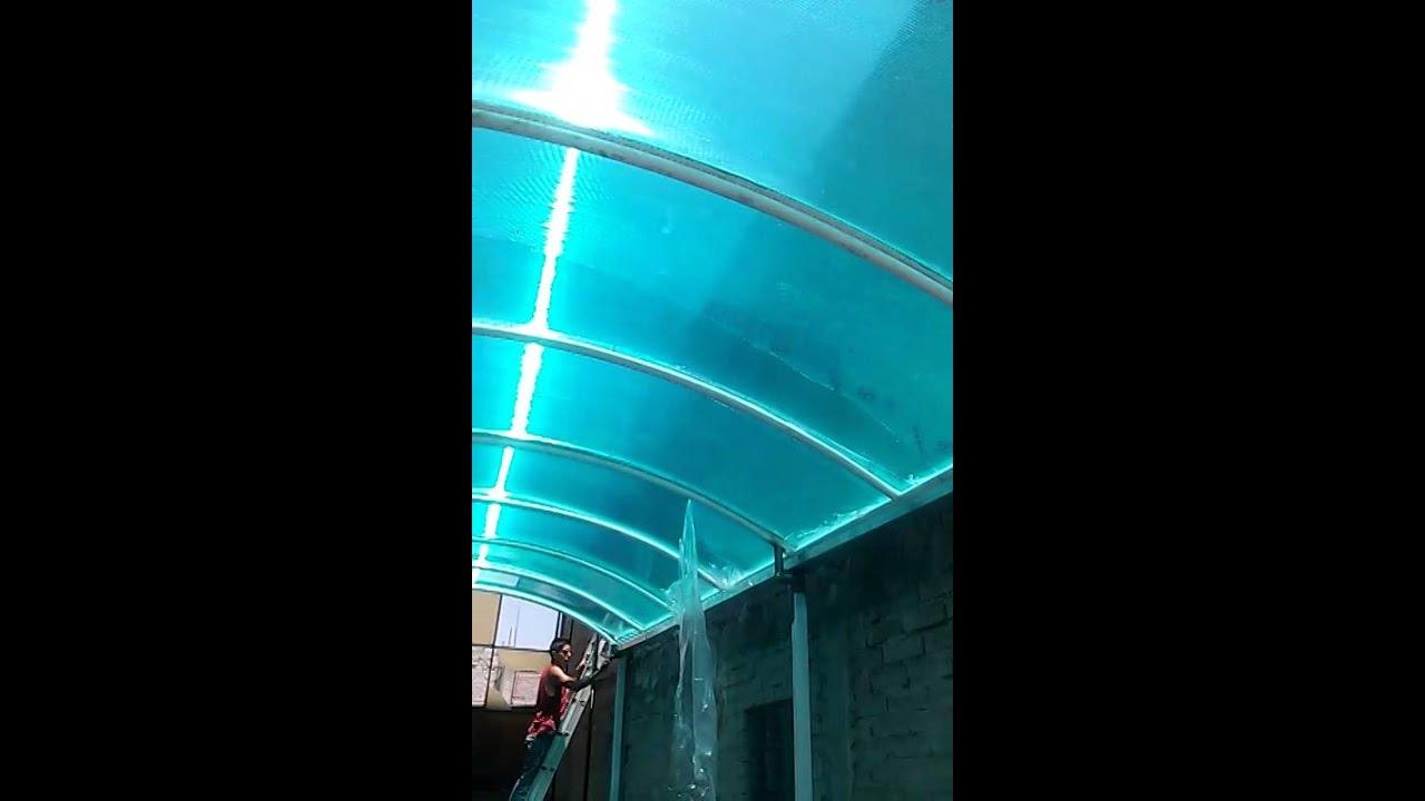 Techo lamina policarbonato celular 6 mm color verde youtube - Lamina de policarbonato ...