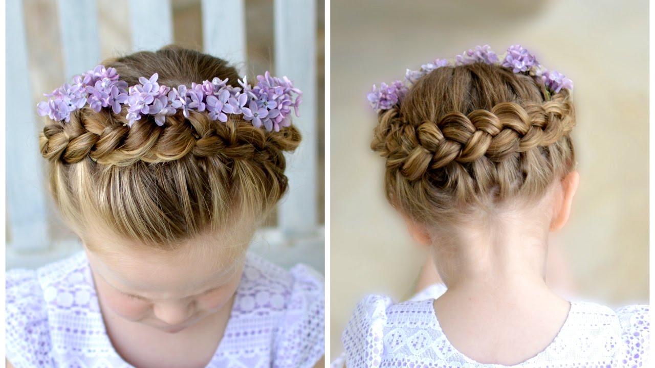 flower girl hairstyle dutch crown