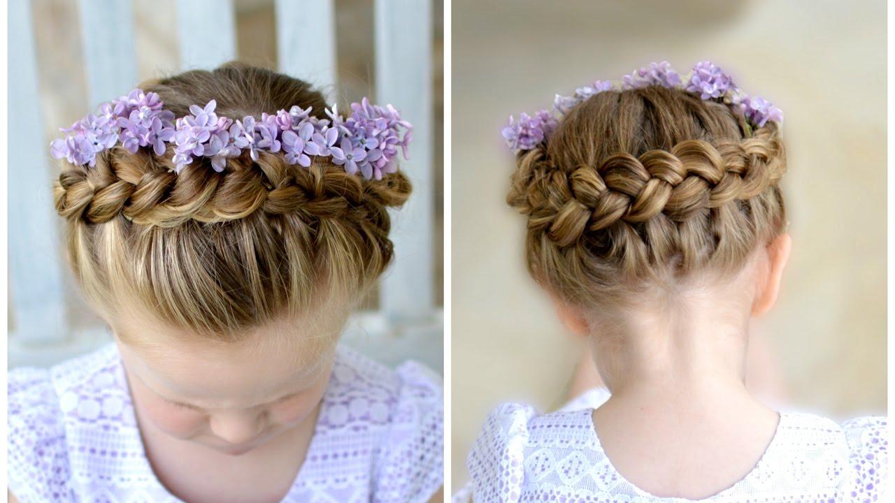 Flower Girl Hairstyle Dutch Crown Braid  YouTube