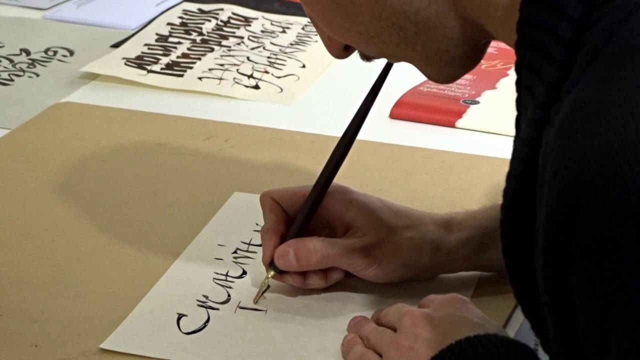 Sandro bonomo s calligraphy using dip pens and ink manuscript