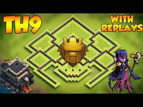 INSANE  COC Town Hall 9 TROPHY Base With Replays 2019! CoC BEST Th9 Trophy Base Layout