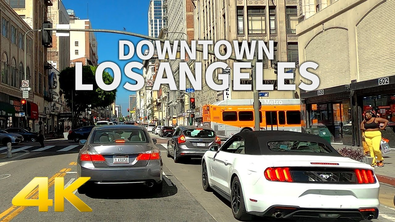 4K LOS ANGELES - Driving Downtown Los Angeles(Olive, Spring, Broadway), California, USA