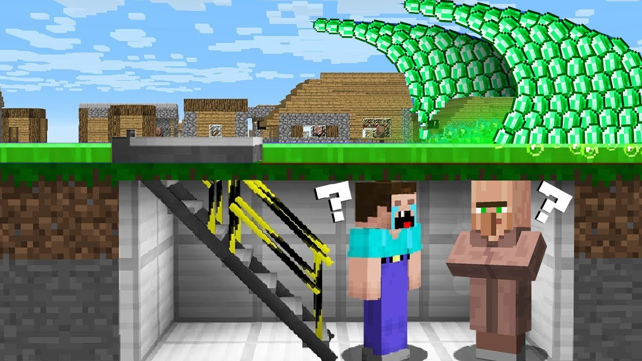 HOW to SURVIVE a NOOB and VILLAGER FROM a EMERALD TSUNAMI? in Minecraft Noob vs Pro