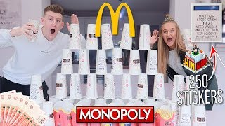 £100,000 MCDONALDS MONOPOLY CHALLENGE WITH GIRLFRIEND!! 250+ STICKERS