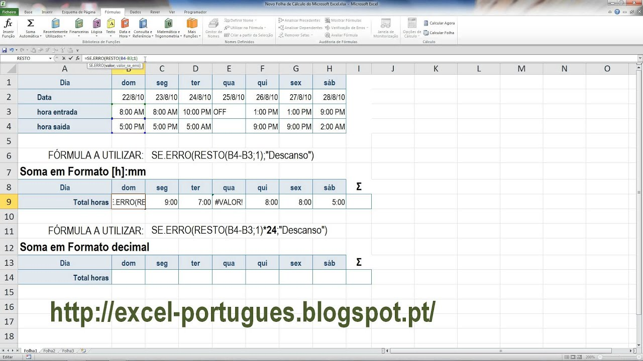 Formula Para Calcular Horas Trabalhadas No Excel   Atividades de ...