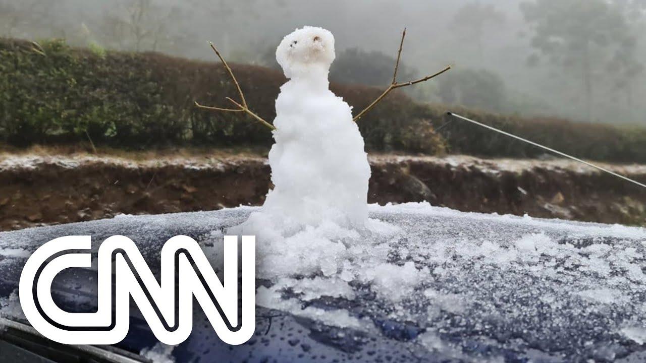 Rio Grande do Sul registra neve em seis cidades