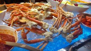 Đi Ăn Buffet  Lobster,snow crab legs,clams, crab legs cùng 2 con mắm seafood