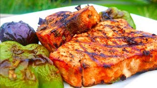 Swordfish Steak Recipe Grilled with Basil and Mint
