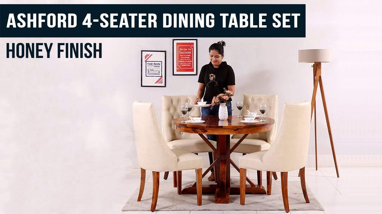 Best Ashford 4 Seater Dining Table Set Honey Finish By Wooden Street