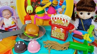 Baby doll and Play Doh cooking toys kitchen play - 토이몽