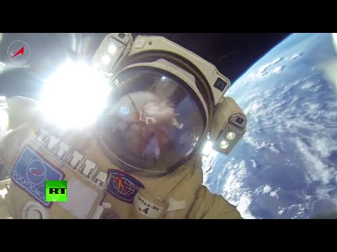 Two Spacewalking Cosmonauts