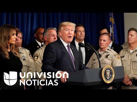 Trump evitó referirse al control de armas en su visita a Las Vegas tras la masacre
