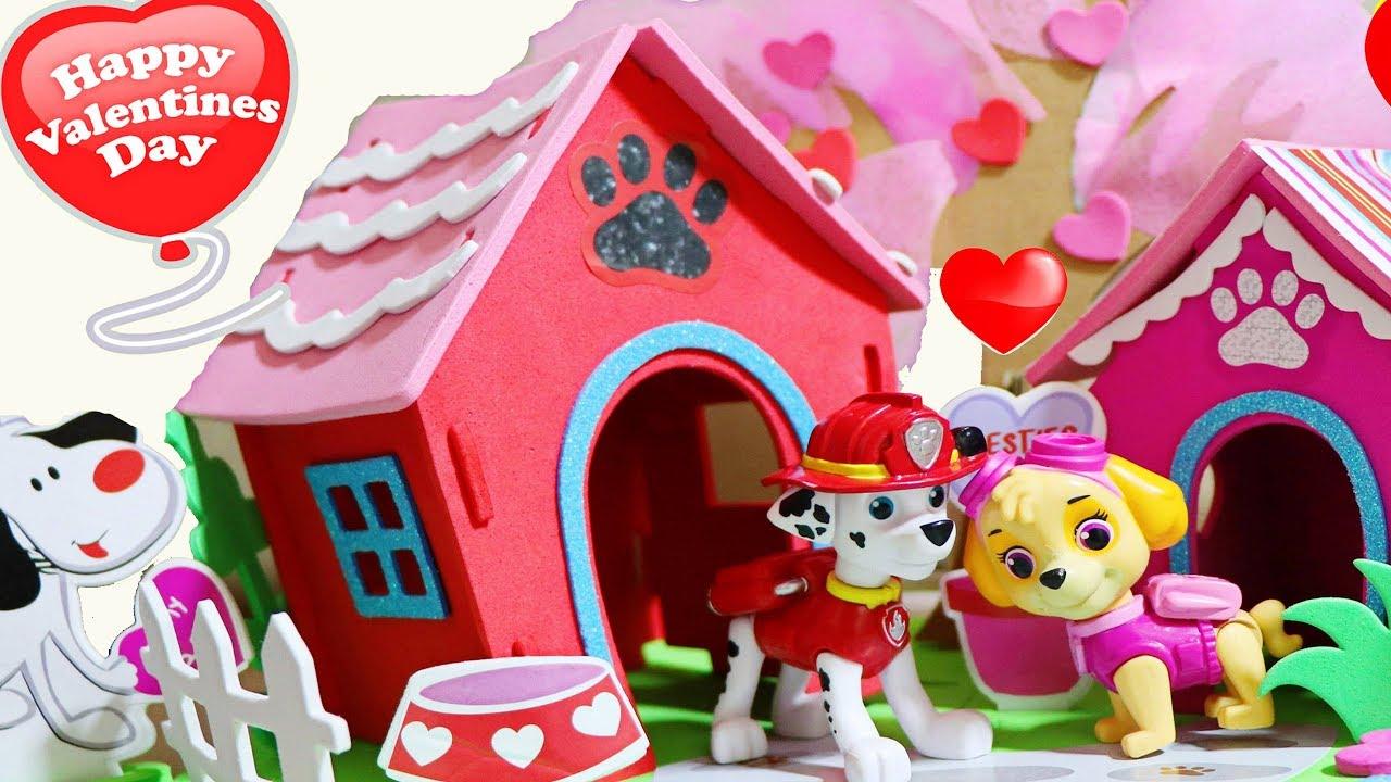 Valentine S Day Diy Kids Craft Paw Patrol Dog Houses Marshal Chase