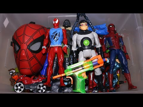 Box with Toys: Marvel Action Figures, Cars, Spider Man and More