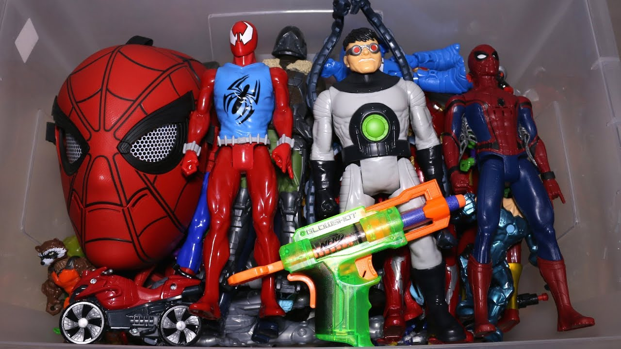 Kids Toys Action Figure: Box With Toys: Marvel Action Figures, Cars, Spider Man And