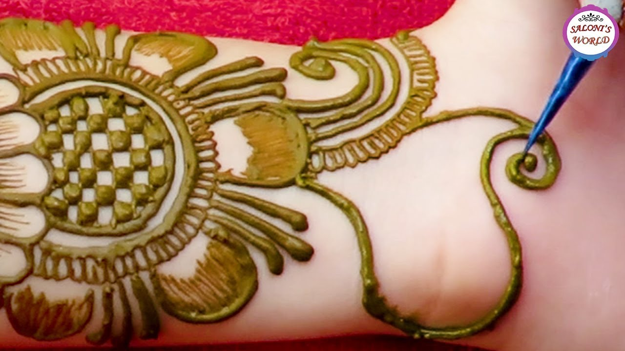Latest Big Flower Mehndi Design Ornamental Jewellery Henna