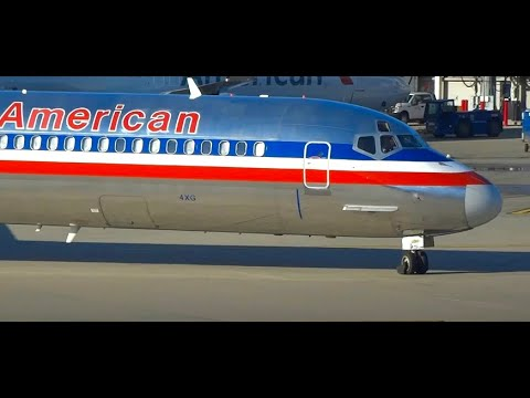 (HD) American Airlines McDonnell Douglas MD-80s, Astrojet Livery Boeing 737, Chicago O'Hare Airport