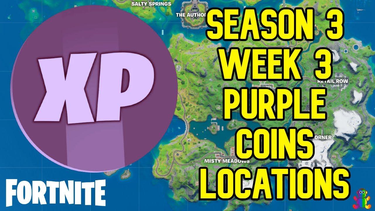 Season 3 Week 3 PURPLE XP Coin All Locations Guide - Fortnite