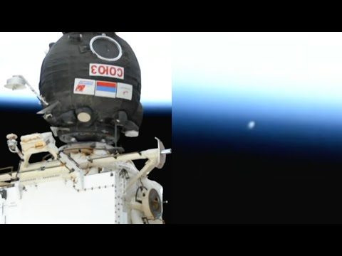 Glowing UFO Captured on ISS Live Camera Leaving Earth's Atmosphere During Soyuz MS-17 Crew Docking