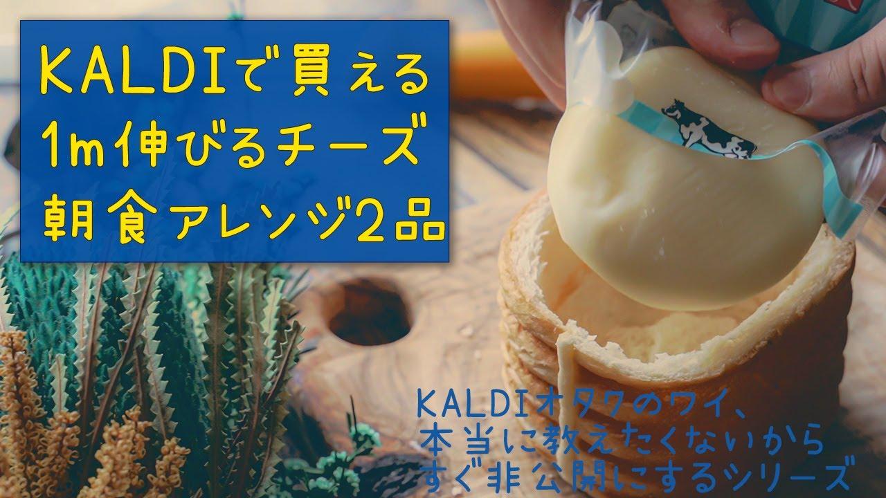 KALDIで買える1m伸びるチーズで朝食を作るVlog 料理アレンジレシピ