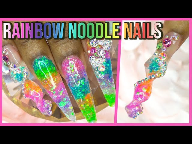 Acrylic Nails Tutorial - How To Noodle Nails - Encapsulated Rainbow Glitter Nails with Nail Forms