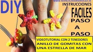 Repeat youtube video COMO HACER UN ANILLO CON UNA ESTRELLA DE MAR DE GOMITAS CON DOS TENEDORES.VIDEO TUTORIAL DIY