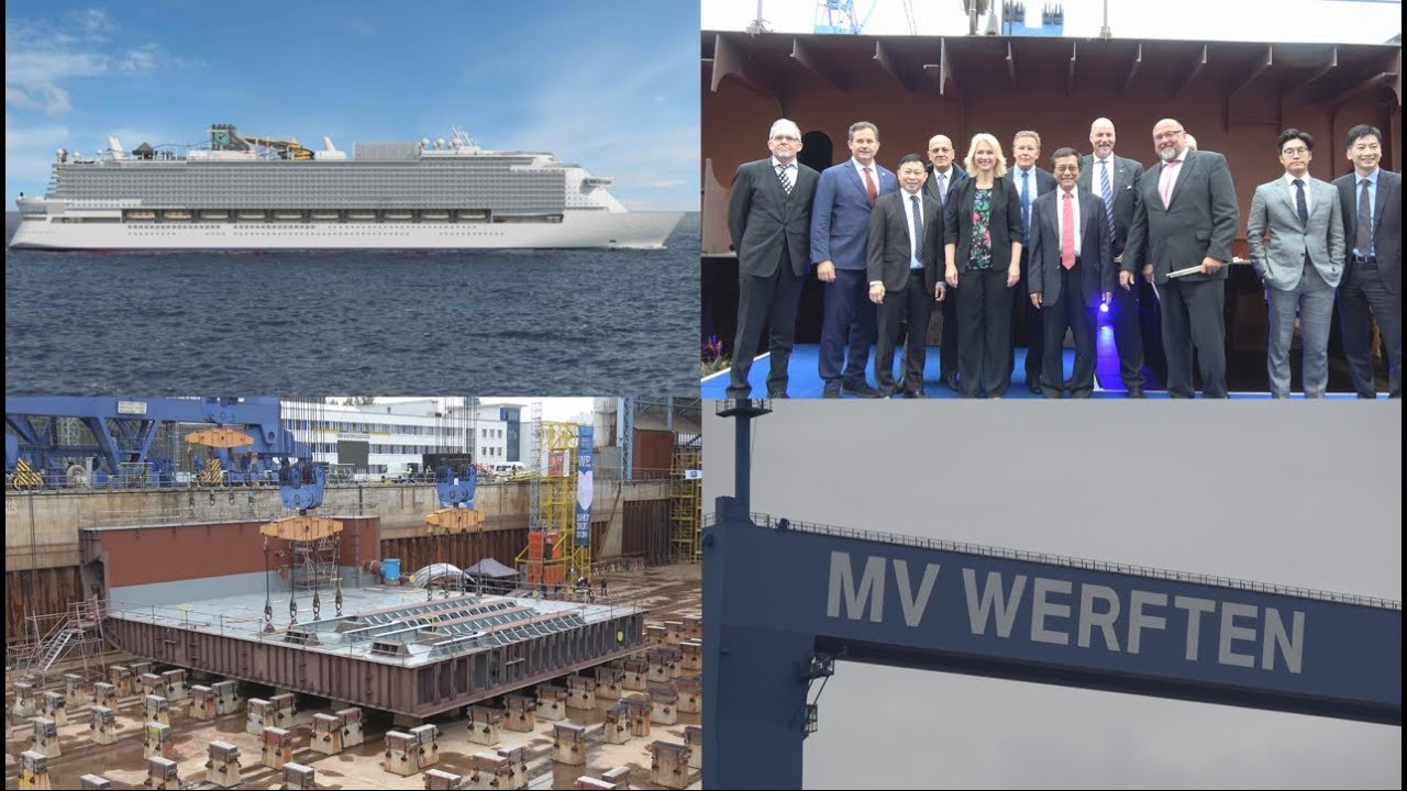 4K   Keel laying ceremony GLOBAL CLASS   Amazing Cruise Ship being built by MV Shipyards