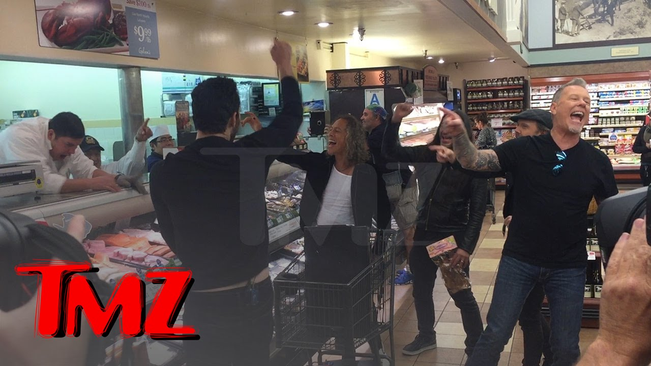 metallica rocks out in hollywood grocery store tmz doovi. Black Bedroom Furniture Sets. Home Design Ideas