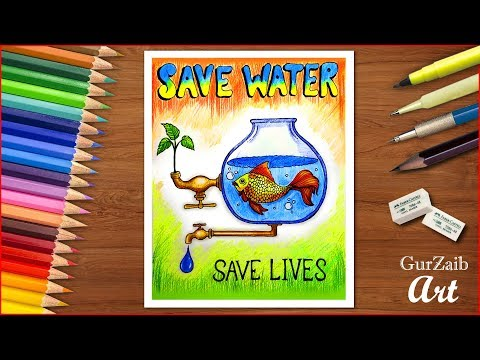 How To Draw Save Water Poster Chart Drawing For Competition Very Easy Step By Step Youtube