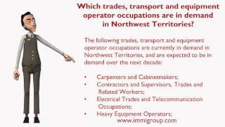 Which trades, transport and equipment operator occupations are in demand in Northwest Territories?