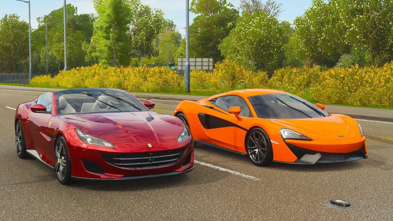 Forza Horizon 4 Drag race: Ferrari Portofino vs McLaren ...