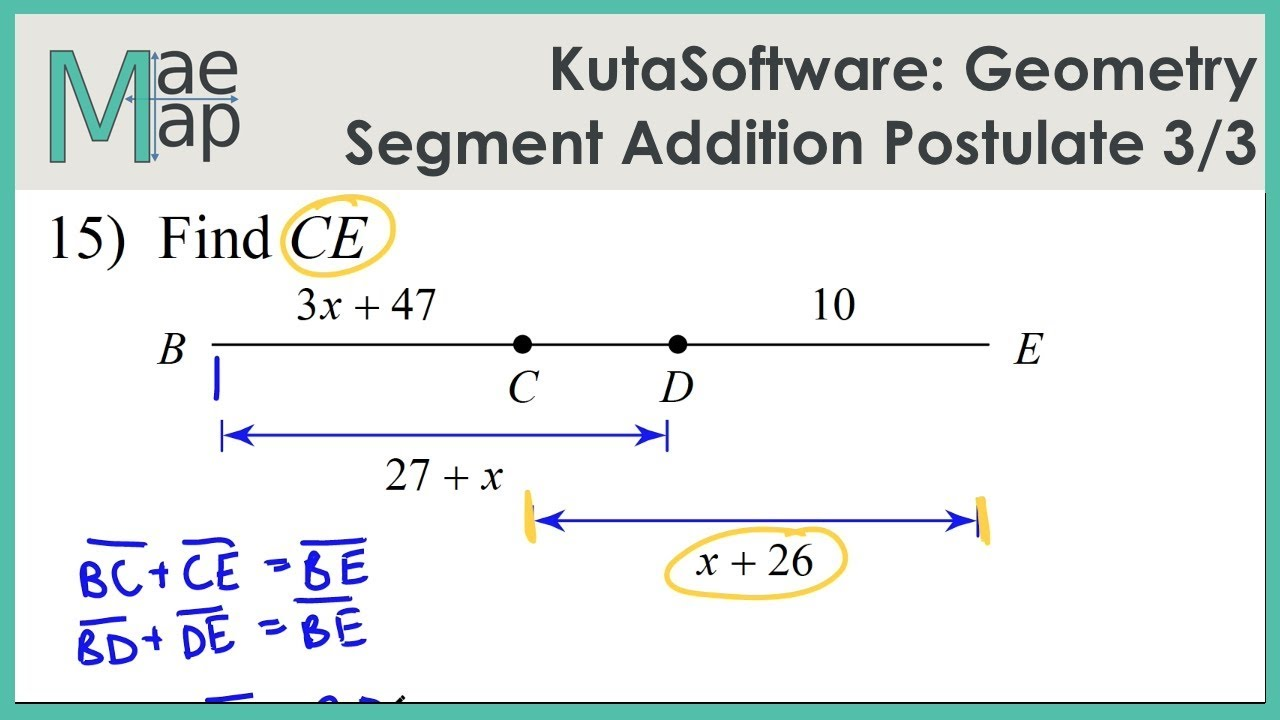 Kutasoftware Geometry Segment Addition Postulate Part 3 Youtube