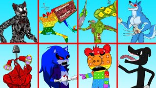 Mega Siren Head Pop It  VS Sonic, Piggy In Squid Game | Roblox Piggy Animation | GV Studio