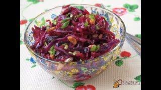 Постный салат из краснокочанной капусты с изюмом Диетические блюда