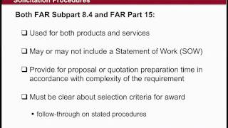 GSA Training: Federal Acquisition Regulation (FAR) Subpart 8.4 vs. Part 15 (2 of 4)