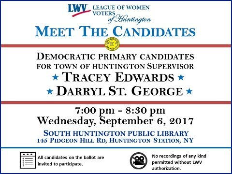 September 6, 2017 League of Women Voters of Huntington NY Meet the Candidates Night