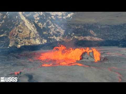 Lava Spews from Halemaumau Crater