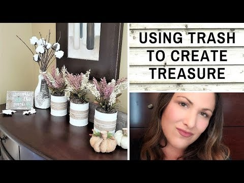 USING TRASH TO CREATE TREASURE DIYs Collab - Tin Can Planters + Cotton Stems DIY + MORE