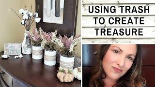 USING TRASH TO CREATE TREASURE DIYs Collab - Tin Can Planters + Cotton Stems DIY + MORE!