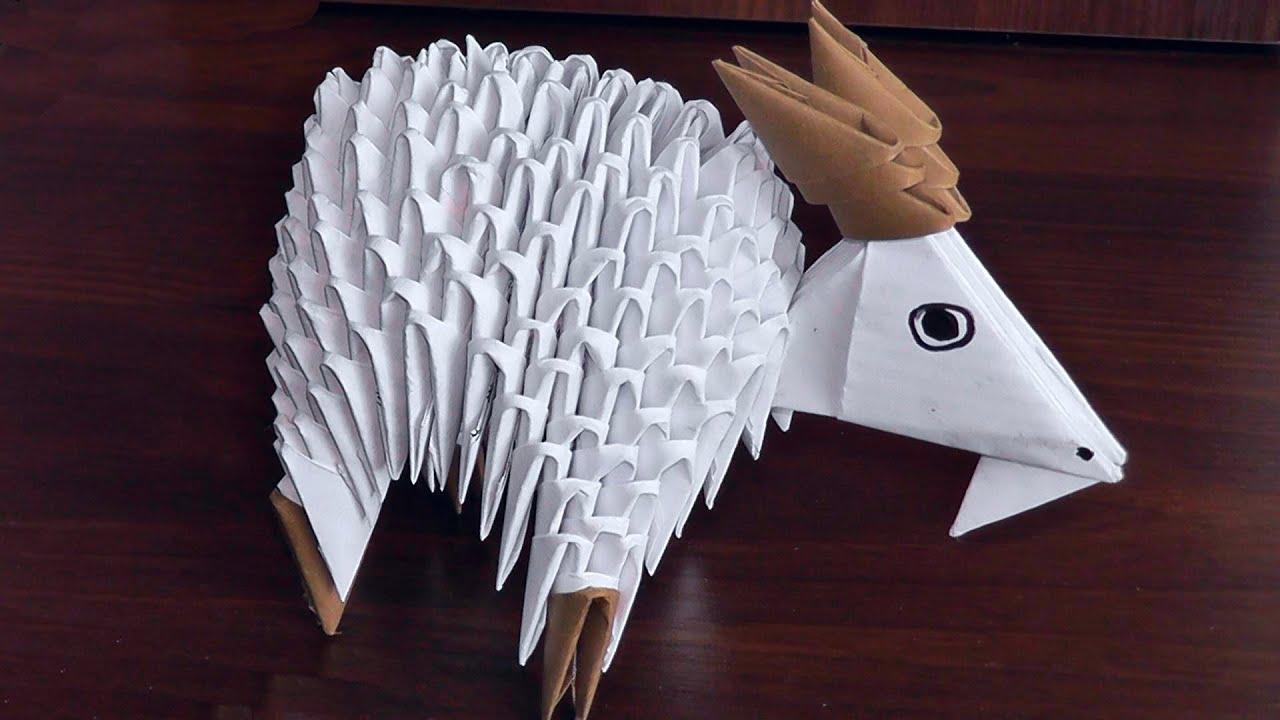 3d origami goat nanny goat assembly diagram tutorial instructions  [ 1280 x 720 Pixel ]