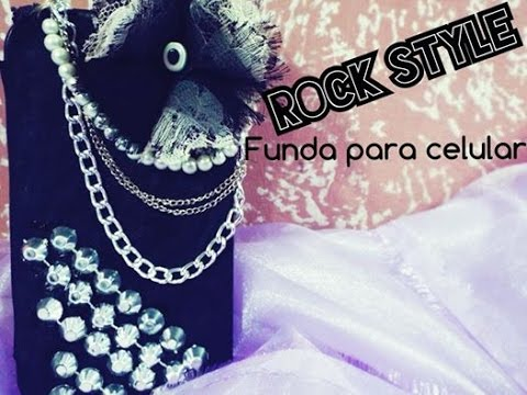 Como decorar una funda para celular diy funda estilo rock rock style youtube - Como decorar una funda de movil ...