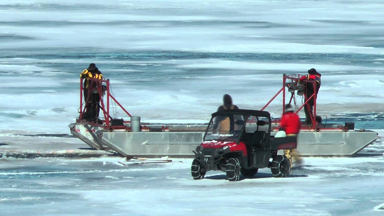 Ice fishing vehicle recovery time lapse of work retrieve a for Ice fishing iowa
