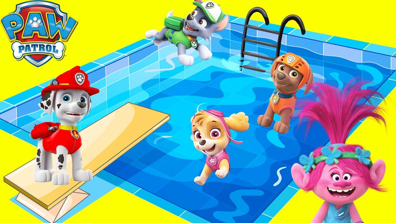 Dreamworks Trolls Swimming Pool with Paw Patrol Skye Using DIY Play-Doh Slime Toys