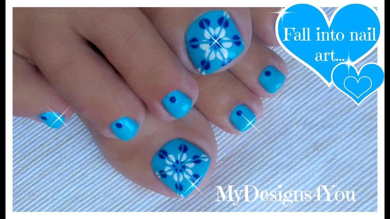 - Easiest Toenail Art Design Blue Floral Pedicure ♥ - YouTube