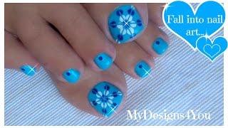Easiest Toenail Art Design | Blue Floral Pedicure ♥