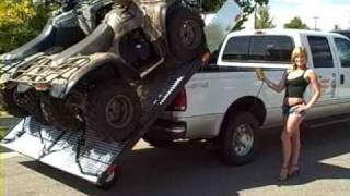 load and unload your atv 4 wheelers into and out of your truck the easy way elevation trailers